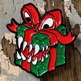 Green and Red Mimic Present Enamel Pin