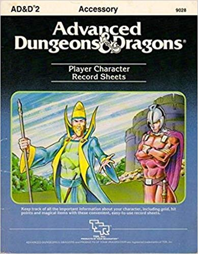Dungeons and Dragons 1st ed: Player Record Sheets - Used
