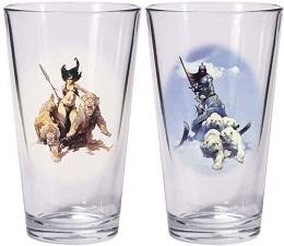 Frazetta: Silver Warrior and The Huntress Pint Glasses