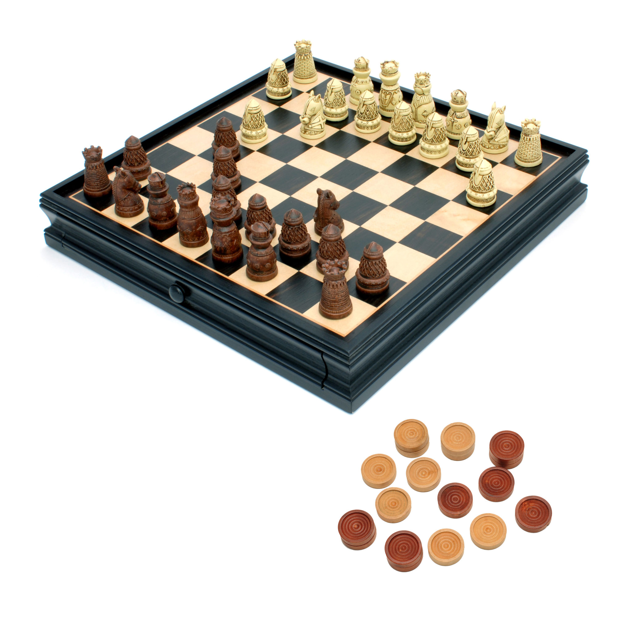 Medieval Chess & Checkers Set - Polystone Pieces, Black Stained Wooden Board with Storage Drawer – 15 in. (265915)