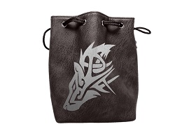 Black Leather Lite Dice Bag: Wolf