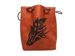 Brown Leather Lite Dice Bag: Wolf