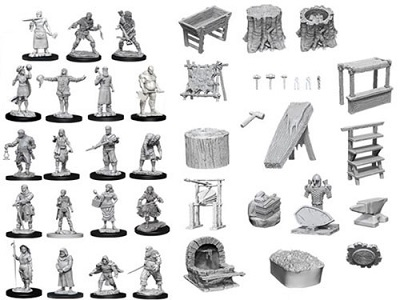 Pathfinder Deep Cuts Unpainted Minis: Townspeople and Accessories